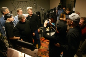 Jini Dellaccio photographing  The Sonics at KEXP Seattle, 50 years on from the last shoot! Copyright Her Aim Is True, 2013